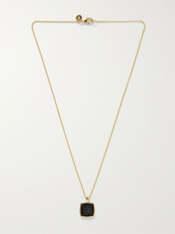 TOM WOOD Gold-Plated Engraved Onyx Pendant Necklace