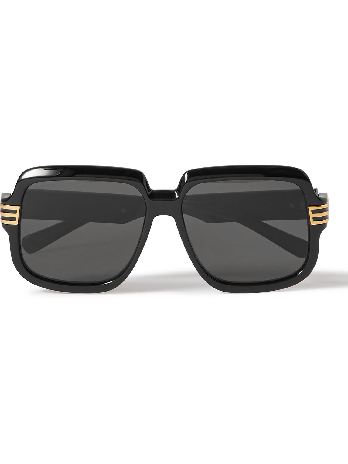 Gucci - Square-Frame Acetate And Gold-Tone Sunglasses - Men - Black