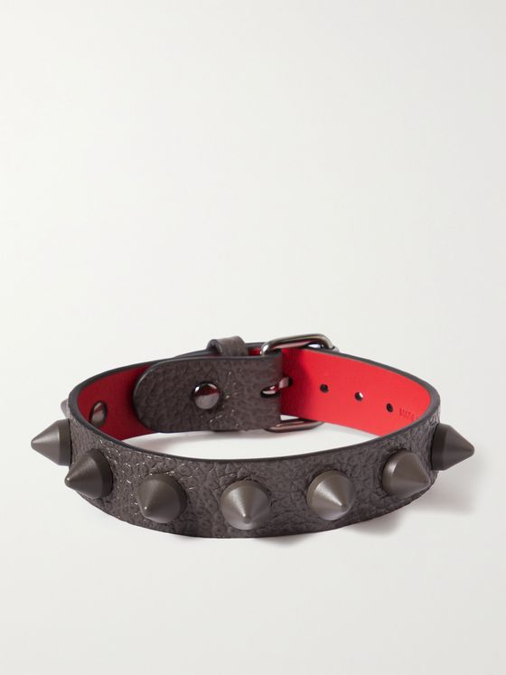 CHRISTIAN LOUBOUTIN Spiked Full-Grain Leather Bracelet