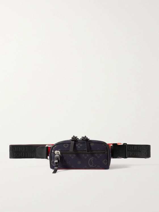 CHRISTIAN LOUBOUTIN Blaster Leather and Rubber-Trimmed Cotton-Canvas Belt Bag