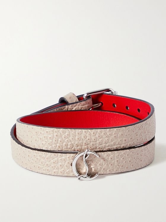 CHRISTIAN LOUBOUTIN Silver-Tone and Textured-Leather Wrap Bracelet