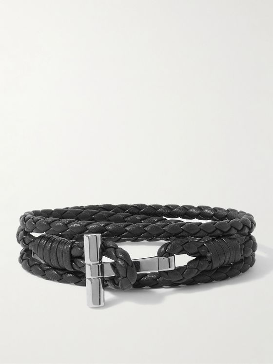 TOM FORD Braided Leather and Palladium-Plated Wrap Bracelet