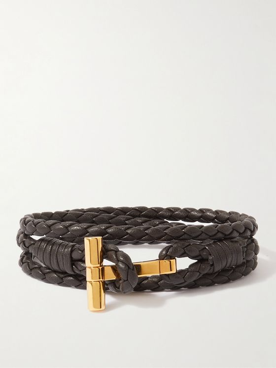 TOM FORD Braided Leather and Gold-Tone Wrap Bracelet