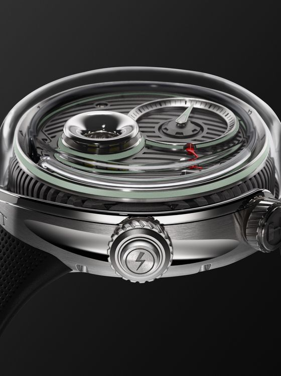 HYT Infinity Flow Limited Edition Hand-Wound 51mm Stainless Steel and Rubber Watch, Ref. No. H02465