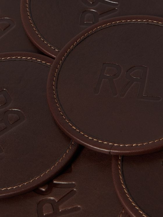 RRL Set of Six Logo-Debossed Leather Coaster Set