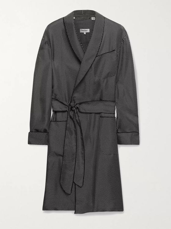 PAUL STUART Piped Polka-Dot Silk-Twill Robe