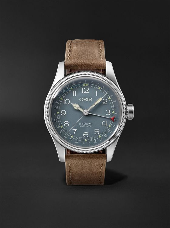 ORIS Big Crown Pointer Date Automatic 40mm Stainless Steel and Suede Watch, Ref. No. 01 754 7741 4065-07 5 20 63