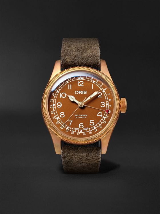ORIS Big Crown Pointer Date Automatic 40mm Bronze, Stainless Steel and Suede Watch, Ref. No. 01 754 7741 3166-07 5 20 74