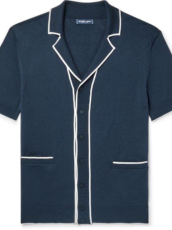 FRESCOBOL CARIOCA Vinicius Camp-Collar Contrast-Tipped Cotton and Silk-Blend Cardigan