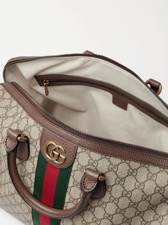 GUCCI Ophidia Leather and Webbing-Trimmed Monogrammed Coated-Canvas Duffle Bag