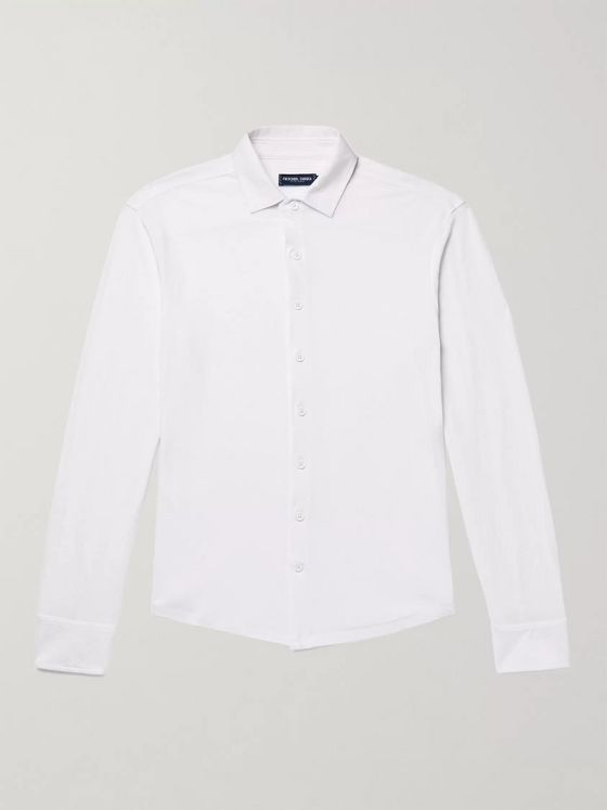 FRESCOBOL CARIOCA Slim-Fit Cotton and Linen-Blend Jersey Shirt