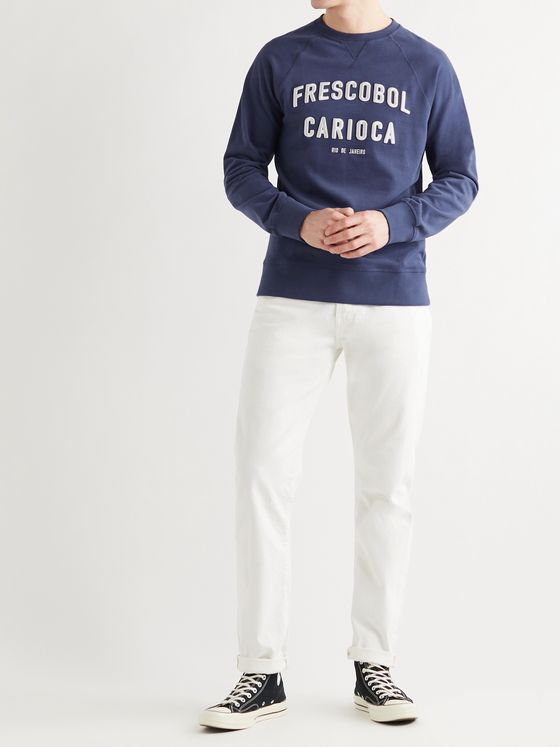 FRESCOBOL CARIOCA Logo-Embroidered Loopback Organic Cotton-Jersey Sweatshirt
