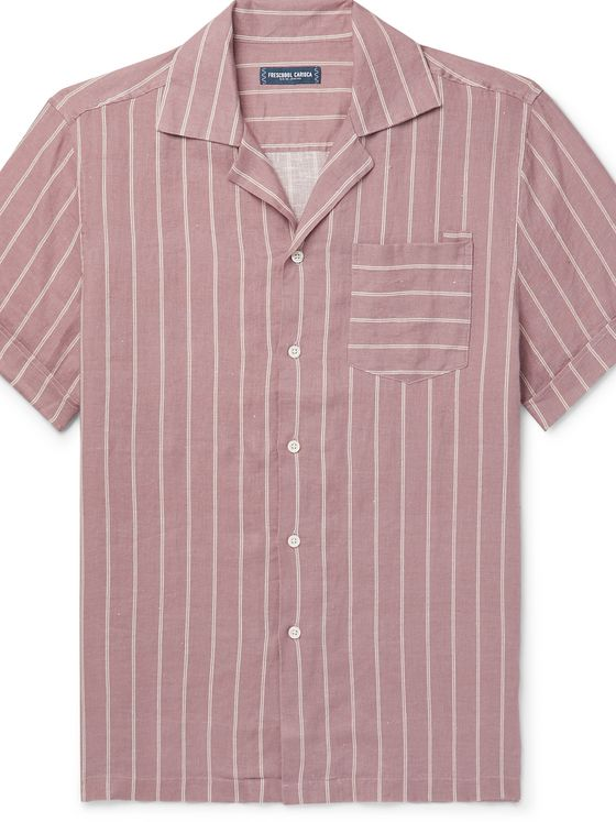 FRESCOBOL CARIOCA Thomas Camp-Collar Striped Linen Shirt