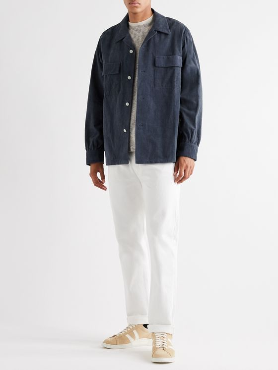 CHIMALA Camp-Collar Cotton Dobby-Corduroy Shirt