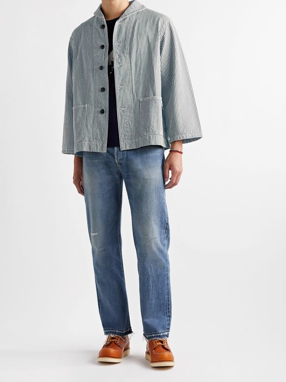 Chimala Shawl-Collar Striped Denim Jacket