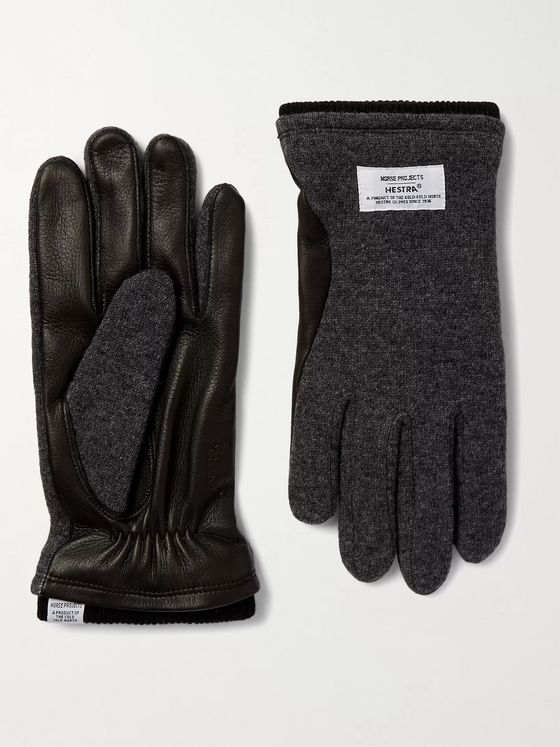 NORSE PROJECTS + Hestra Svante Fleece-Lined Leather and Knitted Gloves