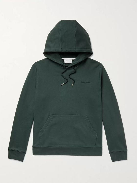 Norse Projects Vagn Logo-Embroidered Loopback Cotton-Jersey Hoodie