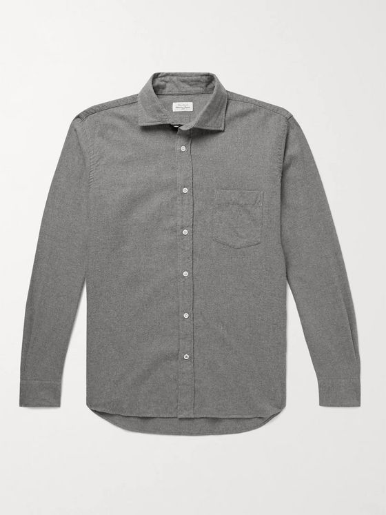HARTFORD Paul Cutaway-Collar Cotton-Flannel Shirt