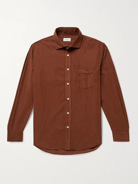 HARTFORD Paul Garment-Dyed Cotton-Corduroy Shirt