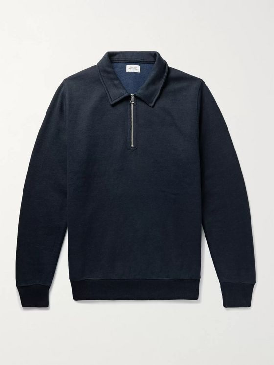 Hartford Fleece-Back Cotton-Blend Jersey Half-Zip Sweatshirt