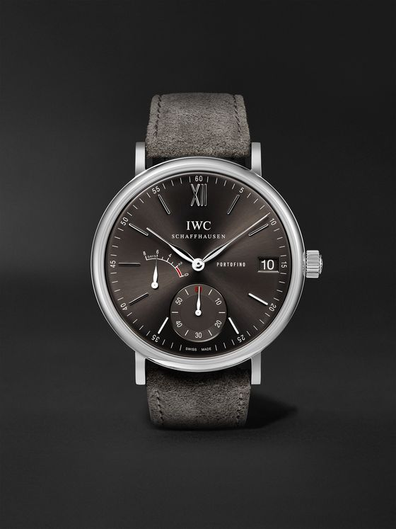 IWC SCHAFFHAUSEN Portofino Hand-Wound Eight Days 45mm Stainless Steel and Suede Watch, Ref. No. IWIW510115