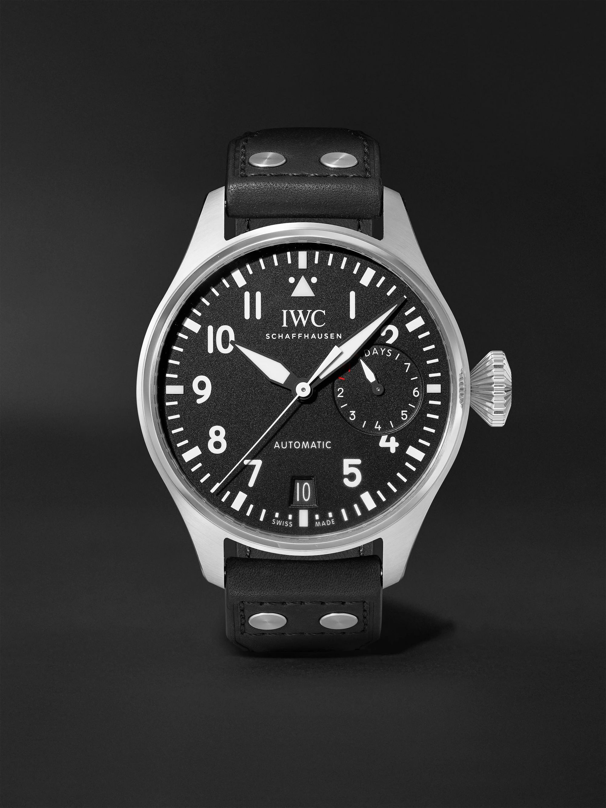 IWC SCHAFFHAUSEN Big Pilot's Automatic 46.2mm Stainless Steel and Leather Watch, Ref. No. IW501001