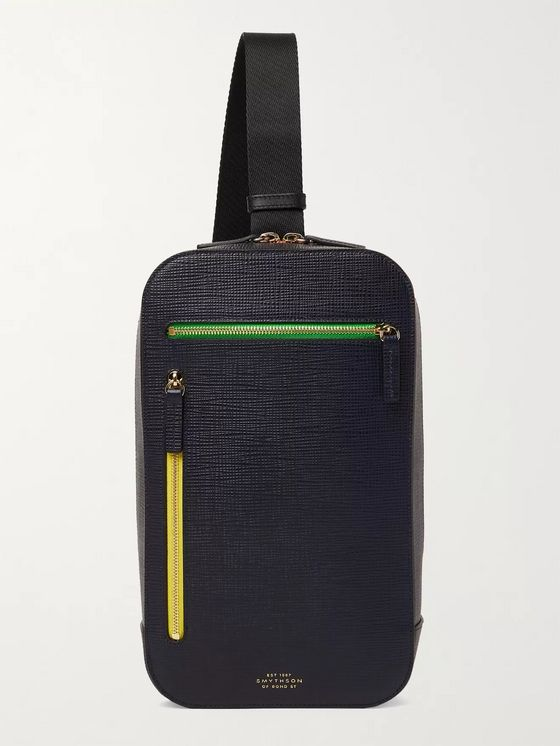 Smythson Cross-Grain Leather Sling Backpack