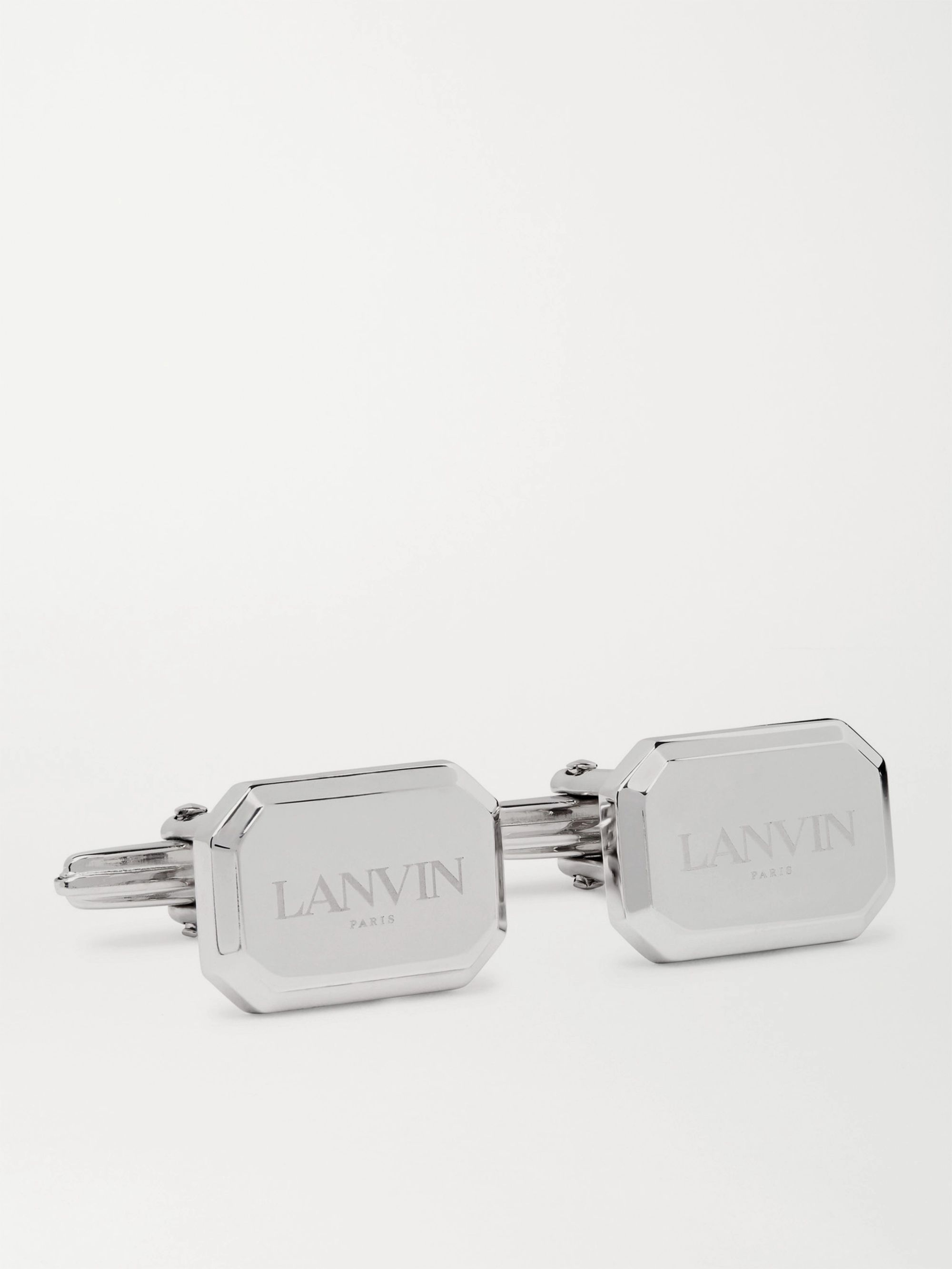 LANVIN Logo-Engraved Rhodium-Plated Cufflinks