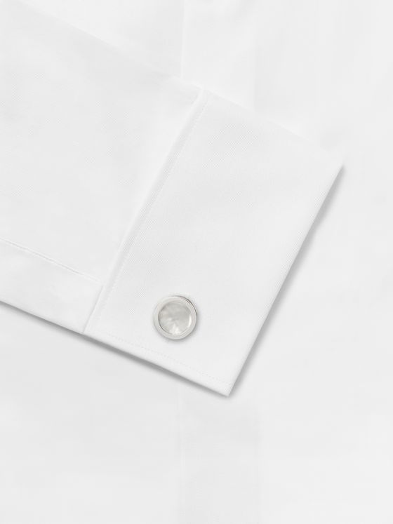 Lanvin Rhodium-Plated Mother-of-Pearl and Onyx Cufflinks