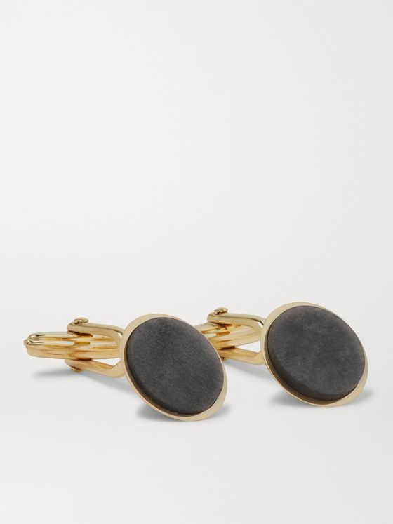 Lanvin Gold-Plated and Obsidian Cufflinks