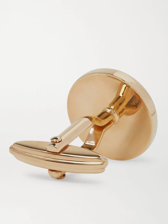 LANVIN Logo-Detailed Gold-Plated Onyx Cufflinks