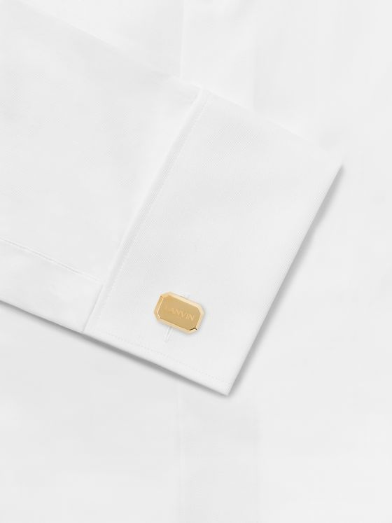 LANVIN Logo-Engraved Gold-Plated Cufflinks