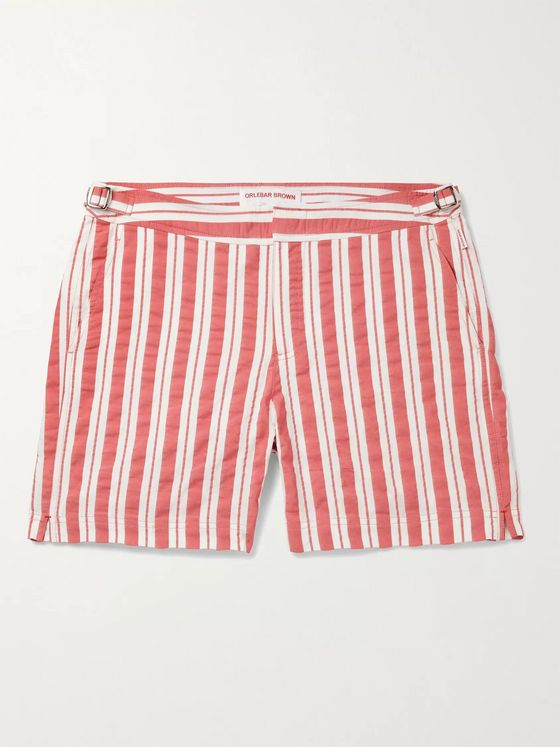 ORLEBAR BROWN Bulldog Slim-Fit Mid-Length Striped Seersucker Swim Shorts