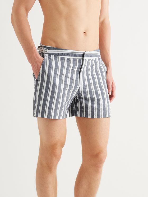ORLEBAR BROWN Setter Slim-Fit Short-Length Striped Seersucker Swim Shorts