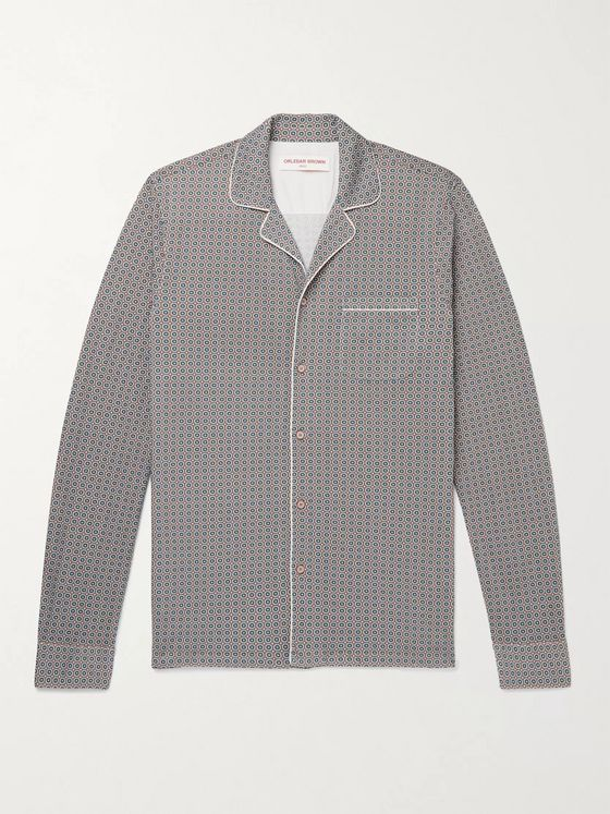 ORLEBAR BROWN Jerome Maravilla Slim-Fit Camp-Collar Piped Cotton-Jacquard Shirt