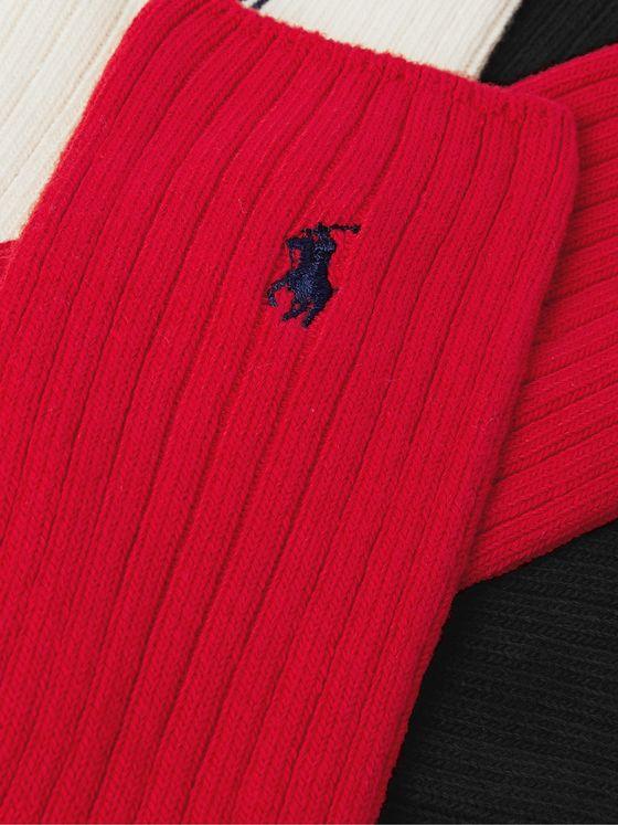 POLO RALPH LAUREN Three-Pack Logo-Embroidered Ribbed Stretch Cotton-Blend Socks