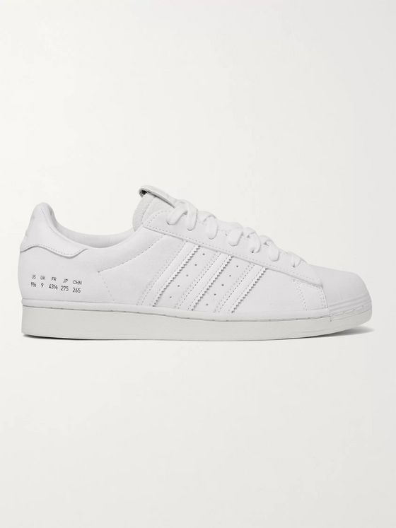 ADIDAS ORIGINALS Premium Basics Superstar Leather-Trimmed Suede Sneakers