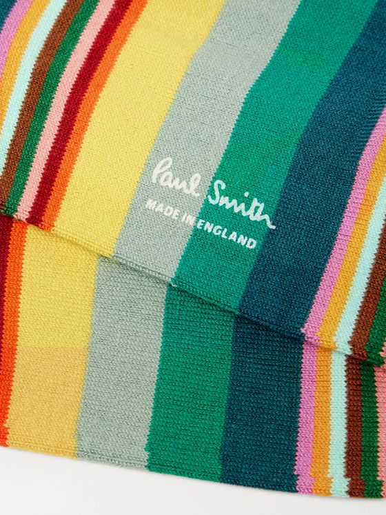 PAUL SMITH Quid Striped Cotton-Blend Socks