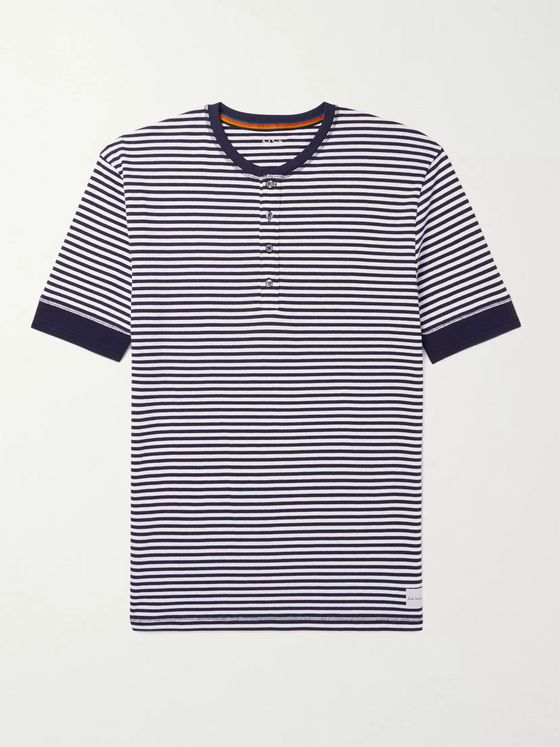 PAUL SMITH Striped Cotton Henley Pyjama T-Shirt