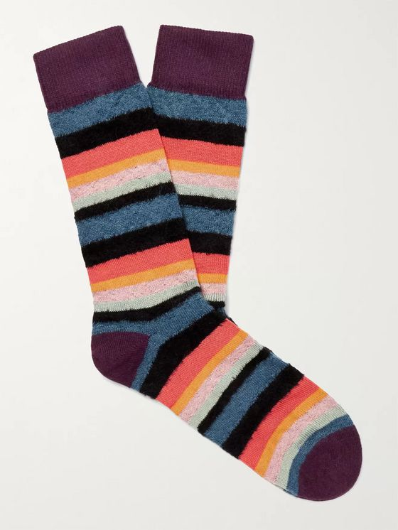 PAUL SMITH Striped Textured-Knit Socks