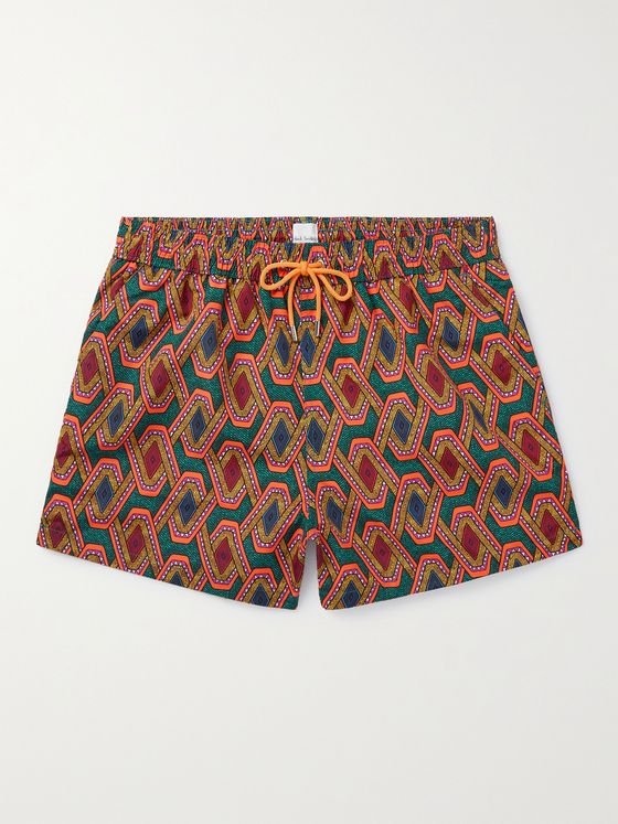 PAUL SMITH Printed Mid-Length Recycled Swim Shorts