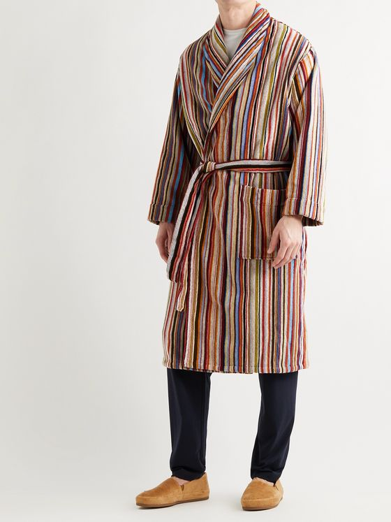 PAUL SMITH Striped Cotton-Terry Hooded Robe
