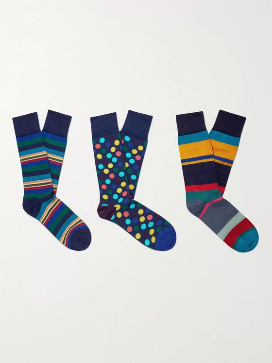 PAUL SMITH Three-Pack Cotton-Blend Socks