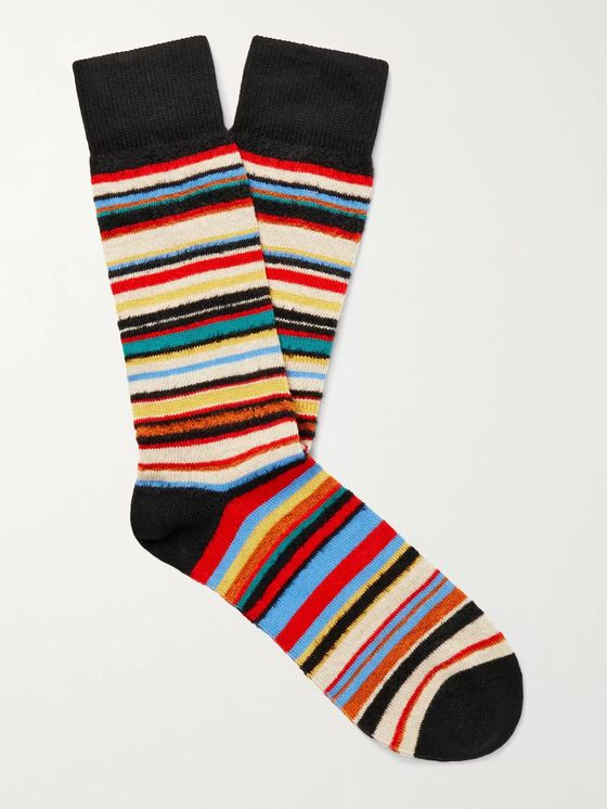 PAUL SMITH Striped Textured Cotton-Blend Socks