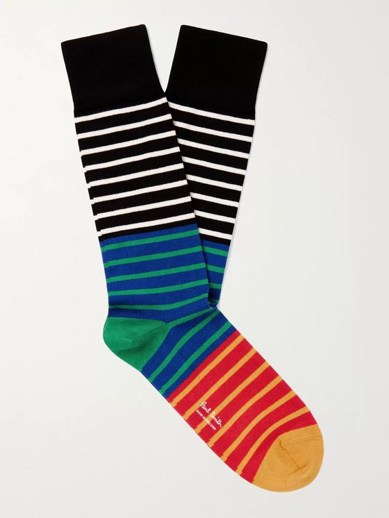 PAUL SMITH Quay Striped Cotton-Blend Socks