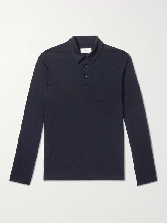 MR P. Slim-Fit Mélange Wool-Jersey Polo Shirt