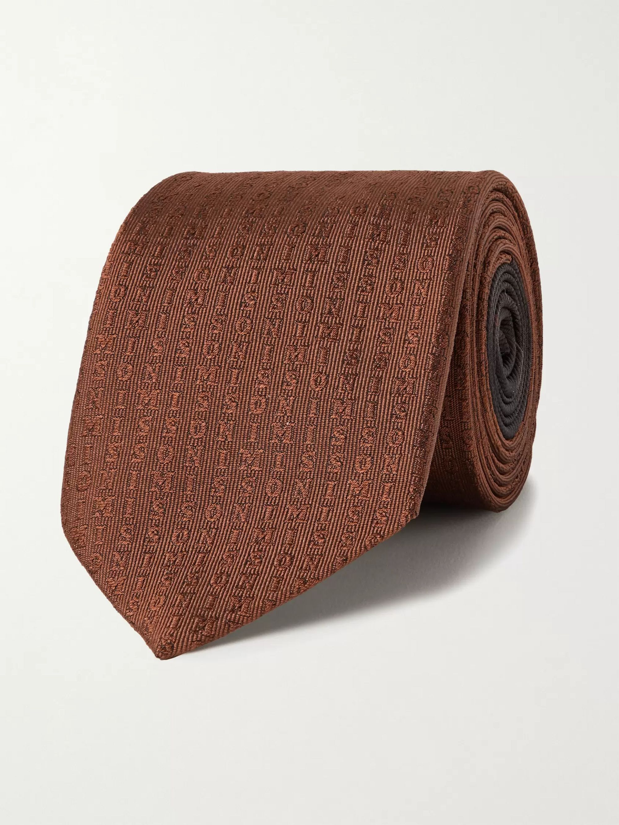미쏘니 Missoni 7cm Logo-Jacquard Silk Tie,Brown