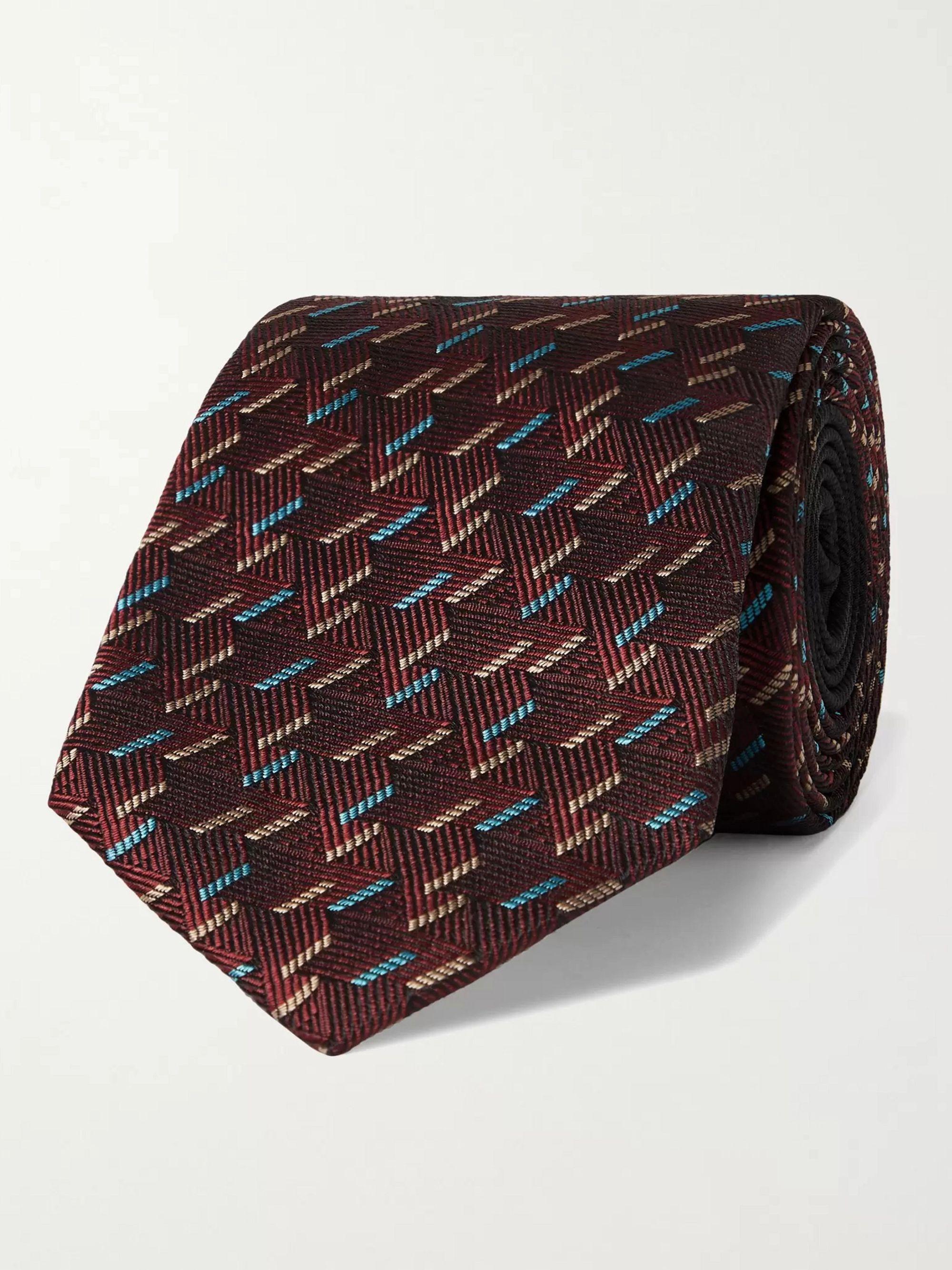 미쏘니 Missoni 7cm Silk-Jacquard Tie,Claret