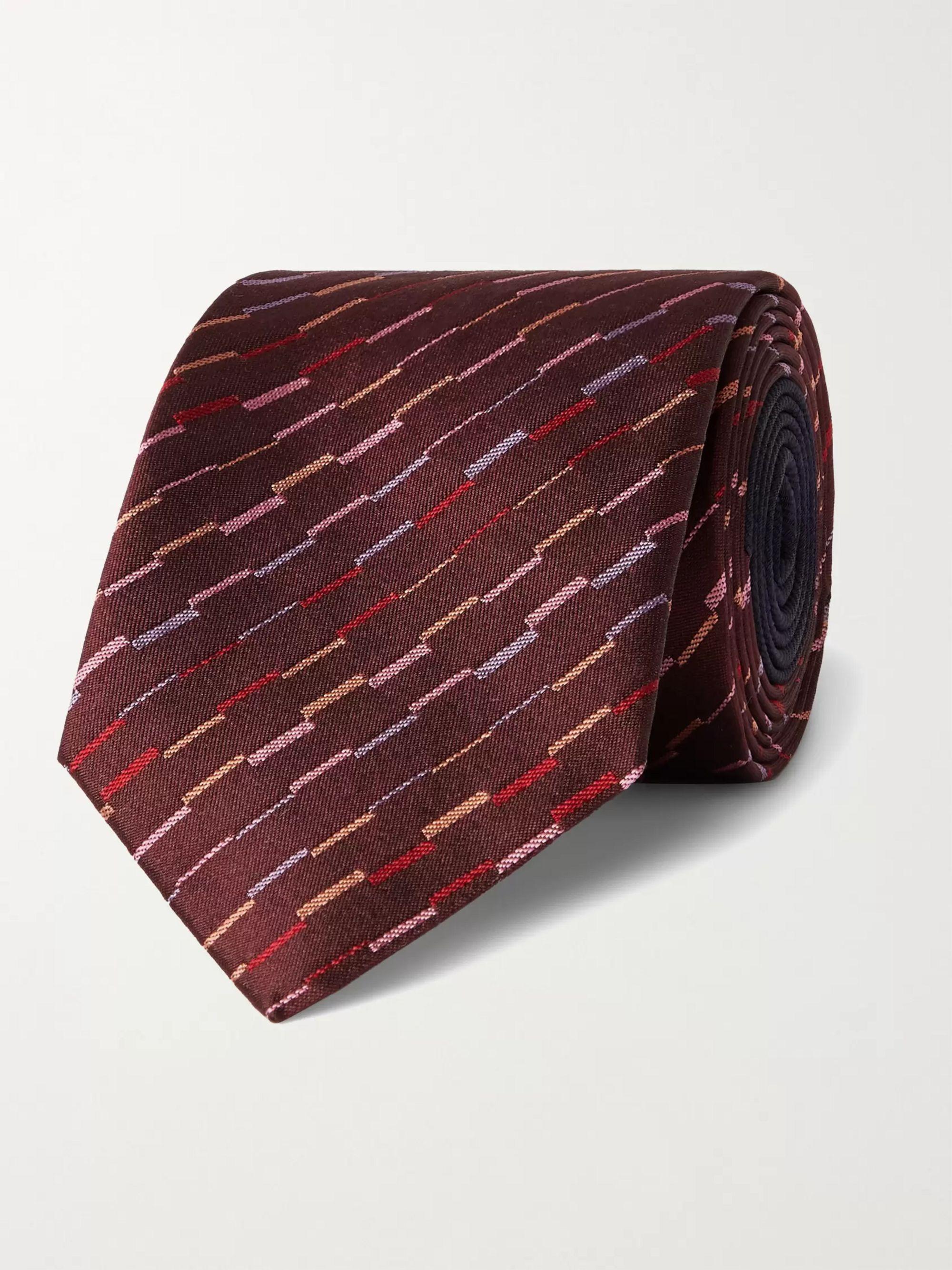 미쏘니 Missoni 7cm Silk-Jacquard Tie,Burgundy