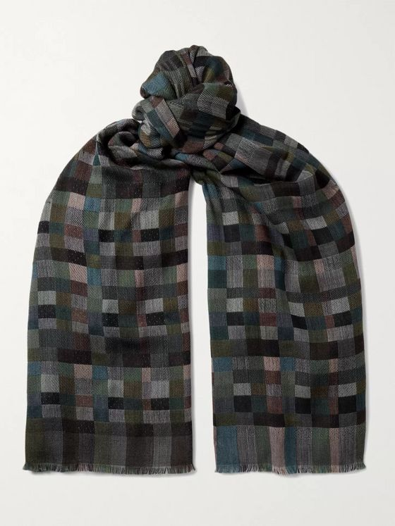 Missoni Fringed Checked Virgin Wool Scarf